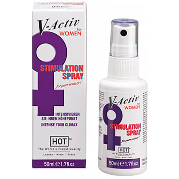 Hot V-Active Stimulation Women Spray, 50 мл Стимулирующий спрей для женщин hot naturale spray woman intense 5мл спрей с феромонами женский