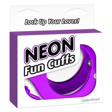 Pipedream Neon Fun Cuffs, фиолетовые Наручники неоновые металлические с ключиками наручники scandal corset cuffs на завязках черный с красным