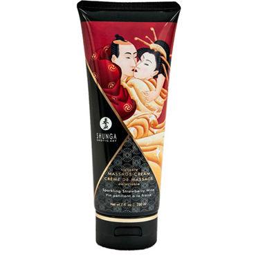 Shunga Kissable Massage Cream Sparkling Strawberry Wine, 200 мл Съедобный массажный крем с ароматом клубничного шампанского shunga lovebath фрукты дракона 650 гр гель для ванны