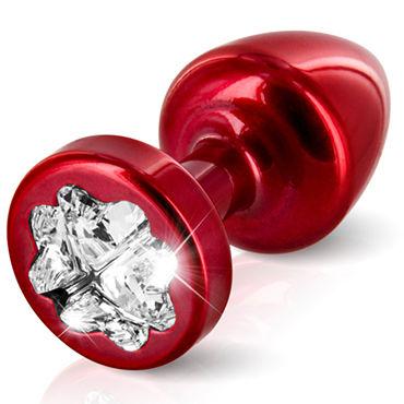 Diogol Anni Clover T1, красная Анальная пробка с кристаллом Swarovski в форме клевера стимулятор клитора lelo