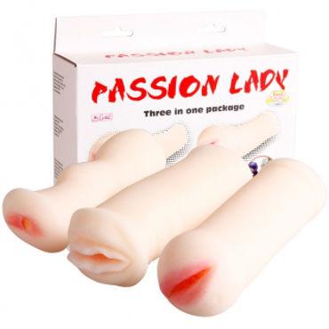 Baile PassionLady Набор из 3-х мастурбаторов с вибрацией shiatsu гель лубрикант на водной основе с ароматом папайа 75 мл