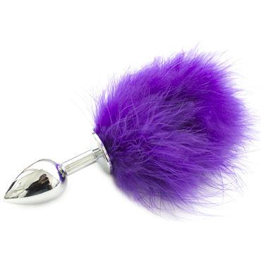 SWT Пробка металлическая серебряная С фиолетовым хвостиком пикантные штучки большая анальная пробка золотая с фиолетовым кристаллом