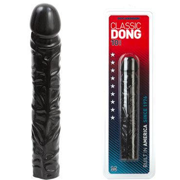 Doc Johnson Classic Dong 25 см, черный Реалистичный фаллоимитатор dolce piccante сорочка черная с кружевным лифом