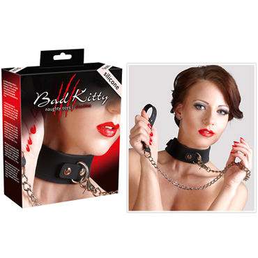 Bad Kitty Silikon-Halsband mit Leine, черный