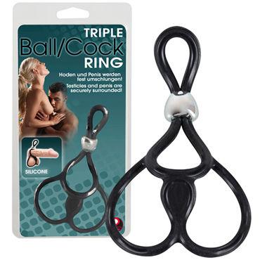 You2Toys Triple Ball & Cockring, черное Лассо с подхватом мошонки iroha minamo волнообразный женский стимулятор