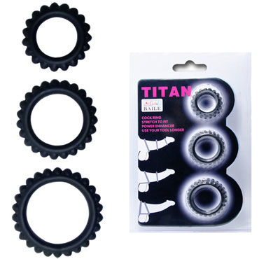 Baile Titan Cock Ring, черный Набор из 3х ребристых эрекционных колец комплект obsessive secred set размер s m