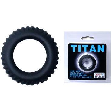 Baile Titan Cock Ring, черное Эрекционное кольцо с ребрышками baile titan cock ring черный набор из эрекционных колец