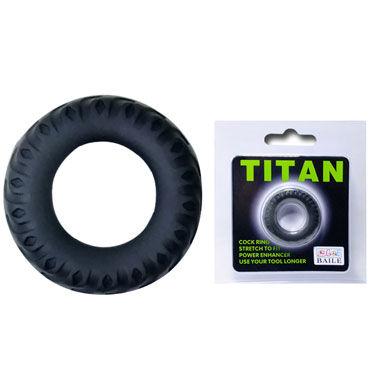 Baile Titan Cock Ring, черное Эрекционное кольцо в виде автомобильной шины baile titan cock ring черный набор из эрекционных колец