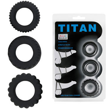 Baile Titan Cock Ring, черный Набор из эрекционных колец bioclon android ii реалистичный вибратор