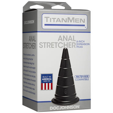 Doc Johnson TitanMen Anal Stretcher 15см, черная Анальная пробка в форме пирамиды ивыь арсенал дизайнерская плеть серебристая т