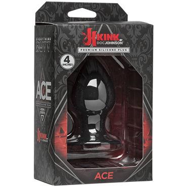 Doc Johnson Kink Ace Silicone Plug 10см, черная Анальная пробка классической формы т накладки на соски цвет серебристый
