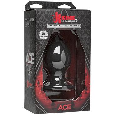 Doc Johnson Kink Ace Silicone Plug 13см, черная Анальная пробка классической формы бдсм маски цвет красный