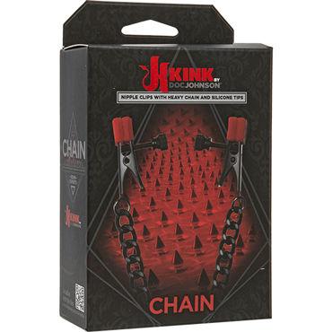 Doc Johnson Kink Chain, черные Зажимы на соски с контрастным декором накладки на соски материал спандекс