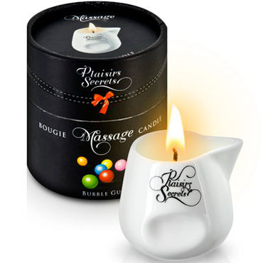 Plaisirs Secrets Massage Candle Bubble Gum, 80мл Свеча массажная Bubble Gum массажное масло plaisir secret vanilla аромат ваниль 35 мл