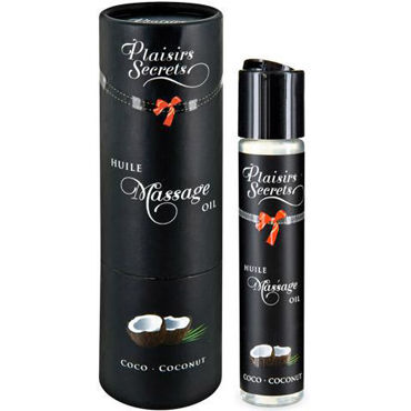 Plaisirs Secrets Massage Oil Coconut, 59мл Массажное масло Кокос плетка из натуральной кожи