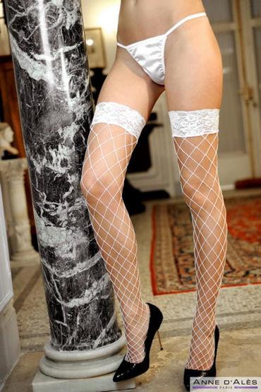 Anne d'Ales Erica Stockings, белые Чулки в крупную сетку ideal animal delight розовый ротатор со стимуляцией клитора