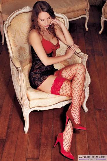 Anne d'Ales Erica Stockings, красные Чулки в крупную сетку к бюстгальтеры erolanta