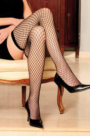 Anne d'Ales Stella Hold-up Stocking, черные Чулки в сетку desire mini v 30 мл интимный гель для женщин c эффектом сужения