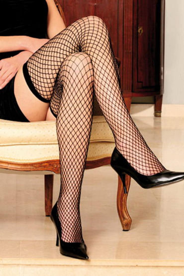 Anne d'Ales Stella Hold-up Stocking, черные Чулки в сетку me seduce justine белые топ и трусики стринги