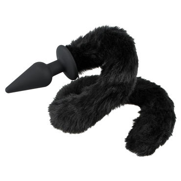 Bad Kitty Plug With Cat Tail, черная Анальная пробка с хвостом baile big man ii телесная насадка на фаллос с вибрацией в головке