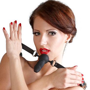 Bad Kitty Silicone Gag Ball, черный Кляп с реалистичный фаллоимитатором pipedream maria sin страстная чувственная мулатка с вагиной и анусом
