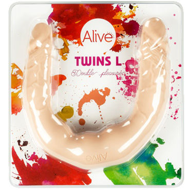Alive Twins size L, телесный Двусторонний фаллоимитатор ideal animal delight розовый ротатор со стимуляцией клитора