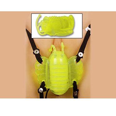 Gopaldas Butterfly Massager желтый Клиторальный стимулятор с вибрацией бабочка клиторальная на pемне butterfly золотая