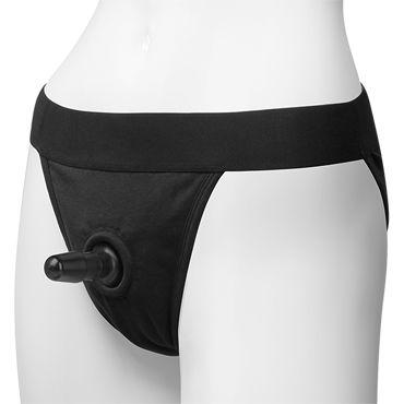 Doc Johnson Vac-U-Lock Panty Harness with Plug, черные Трусики со штырьком для насадок трусики vac u lock leather ultra harness with plug