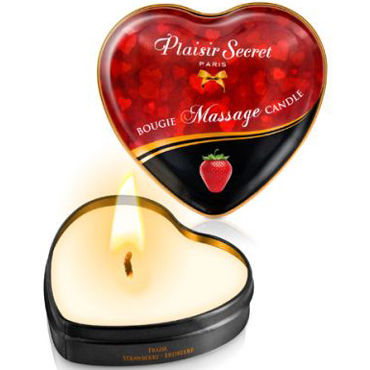 Plaisirs Secrets Massage Candle Heart Strawberry, 35мл Свеча массажная с ароматом Клубника electric lingerie wild колготы с принтом под леопарда