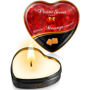 Plaisirs Secrets Massage Candle Heart Caramel, 35мл Свеча массажная с ароматом Карамель plaisirs secrets massage candle heart coconut 35мл свеча массажная с ароматом кокос