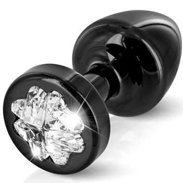 Diogol Anni Clover T1, черная Анальная пробка с кристаллом Swarovski в форме клевера diogol anni round t1 золотая