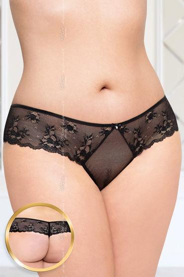 Soft Line стринги, черные С цветочным кружевом soft line трусики с цветочным кружевом