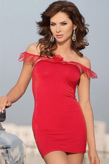 Soft Line Adeline, красный Сорочка с бретельками-рюшами шорты soft line мужские с открытыми ягодицами черные ml