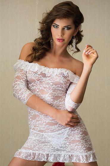 Soft Line Agathe, белый Кружевная сорочка и стринги ночная сорочка и стринги soft line tanya белые xxxl