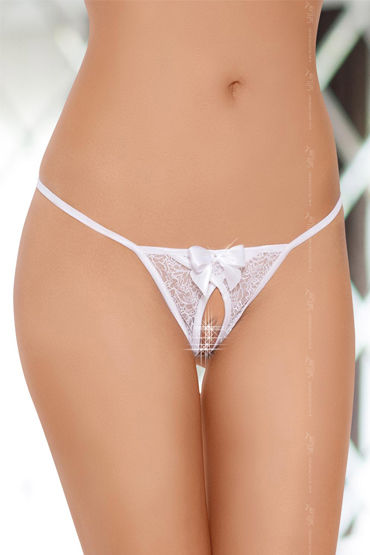 Soft Line трусики, белые С пикантным разрезиком ночная сорочка и стринги soft line tanya белые xxxl