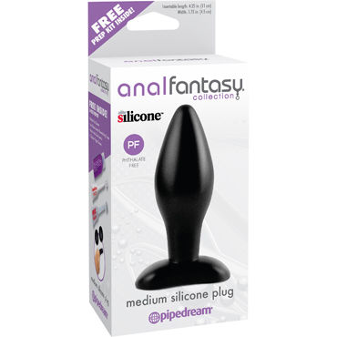 Pipedream Anal Fantasy Collection Medium Silicone Plug Анальная пробка среднего размера pipedream his and hers черный изогнутая анальная пробка