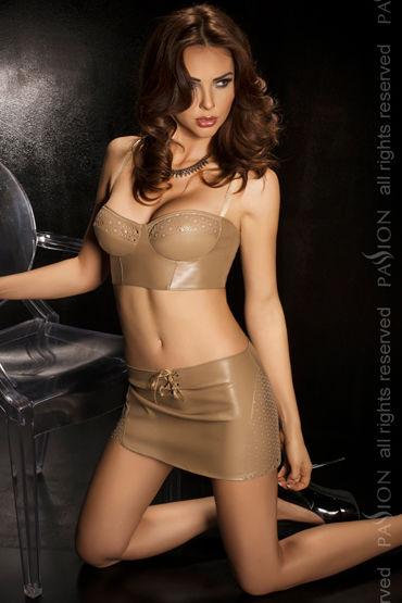 Passion Rusty, бежевый Укороченный топ, юбка и стринги комплект женский топ юбка головной убор перчатки стетоскоп стринги чулки