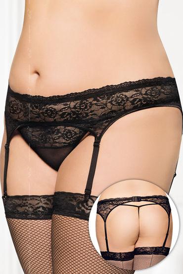 Soft Line комплект, черный Кружевной пояс для чулок и стринги soft line пояс и стринги белые красивый кружевной комплект