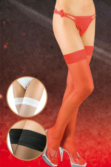 Soft Line чулки, красные C плотной резинкой shots toys realrock realistic cock 20 см черный