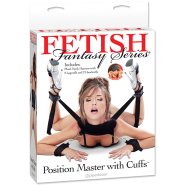 Pipedream Fetish Fantasy Series Position Master With Cuffs, черная Фиксация-поддержка для секс-позиций с наручами luxe maxima французский связной презервативы с усиками и шариками