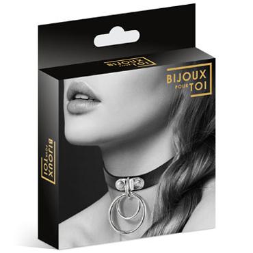 Bijoux Pour Toi Collier Ras De Cou, черный Чокер с двумя кольцами toyfa theatre стропа фиксирующая с мягкой подкладкой для шеи