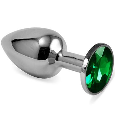 Mif Анальная пробка, серебристая С зелёным кристаллом виброяйцо ovo r6 remote на дистанционном управлении белое