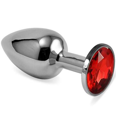 Mif Анальная пробка, серебристая С красным кристаллом mif анальная пробка серебристая с фиолетовым кристаллом