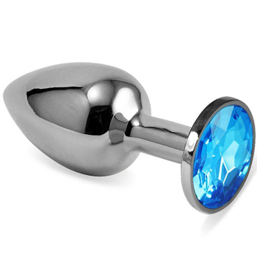 Mif Анальная пробка, серебристая С голубым кристаллом серебристая пробка с пушистым хвостиком