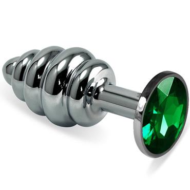 Mif Спиральная анальная пробка, серебристая С зелёным кристаллом kanikule средняя анальная пробка золотая с прозрачным кристаллом