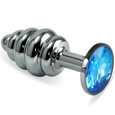 Mif Спиральная анальная пробка, серебристая С голубым кристаллом виброяйцо ovo r6 remote на дистанционном управлении белое