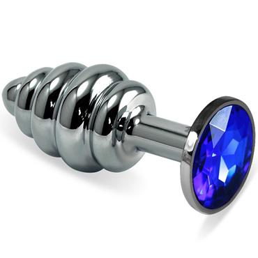 Mif Спиральная анальная пробка, серебристая С синим кристаллом kanikule большая анальная пробка серебристая с темно синим кристаллом