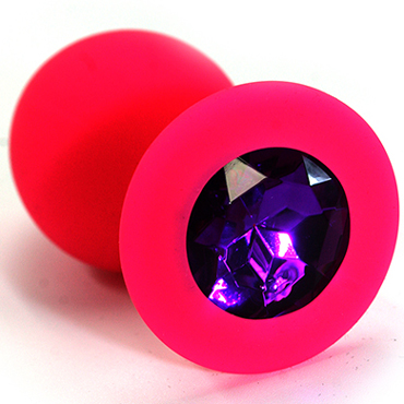 Mif Силиконовая анальная пробка, розовая С фиолетовым кристаллом анальная пробка из силикона розовая с разноцветным кристаллом