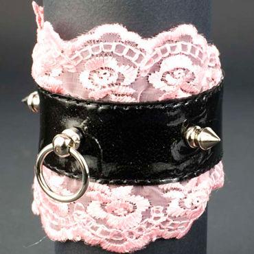 Beastly Готика-1, черно-розовый Запястник с кружевной отделкой beastly привратности любви черно серый флогер из натурального меха