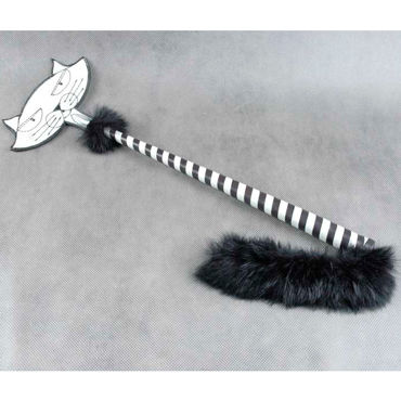 Beastly Приласкай киску, черно-белый Cтек со шлепком в форме мордочки кота beastly привратности любви черно серый флогер из натурального меха